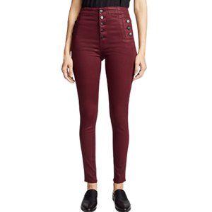J Brand Natasha Sky High Coated Skinny Jeans in Oxblood Red